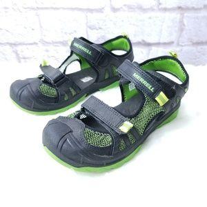 Merrell boys hydro rapid sandals black green sz 5